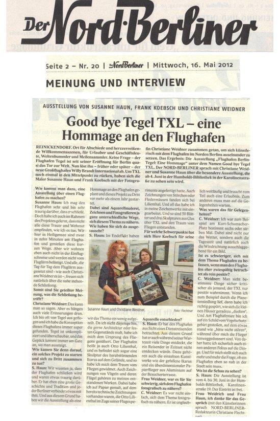 Der Nord-Berliner berichtet über unser Ausstellungsprojekt Flughafen Berlin Tegel